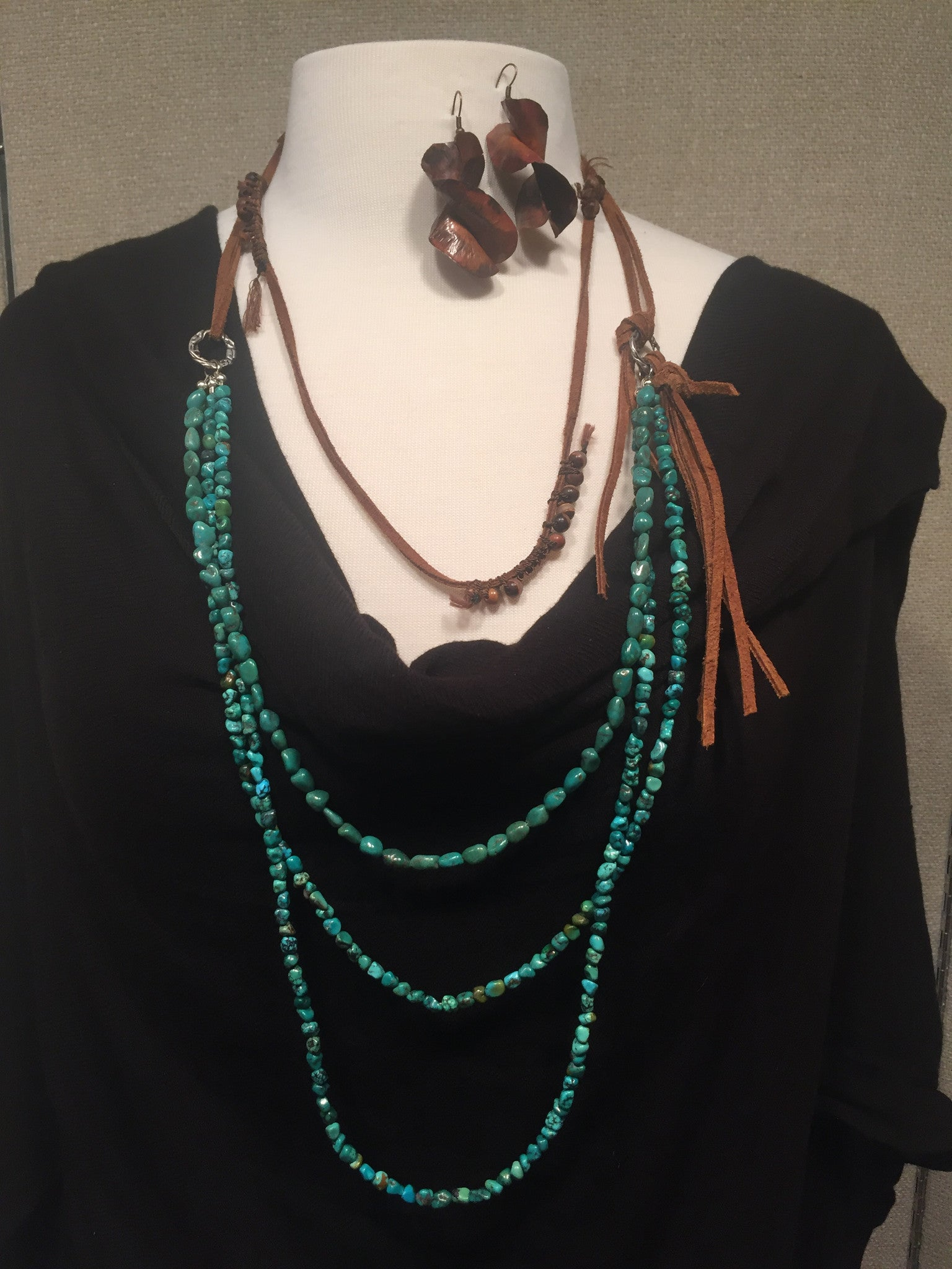 Rustic Leather, Turquoise, Patina Copper, Tibetan Bead Layered Neck and Ear Set