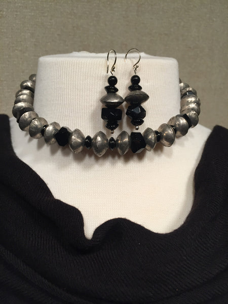 Antique Silver Beads with Black Onyx Necklace and Earring Set