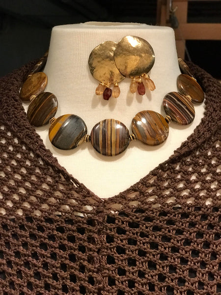 "Zebra Jasper Coin Necklace, Earrings are Hammered Merlin's Gold with Hessonite 6mm Gems  16"" with Artisan Toggle Clasp"