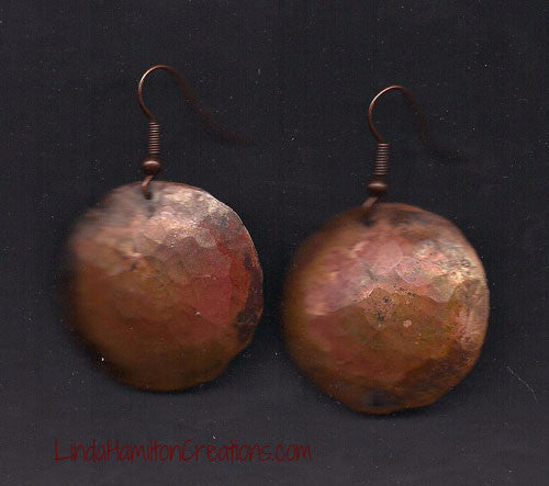 Patina Copper Earring Disc