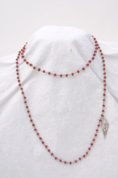Ruby Faceted Roundel, Sterling Silver Gem-Chain Losso Necklace with Sterling Silver Cast Heart Charm silver mag clasp 34 inches