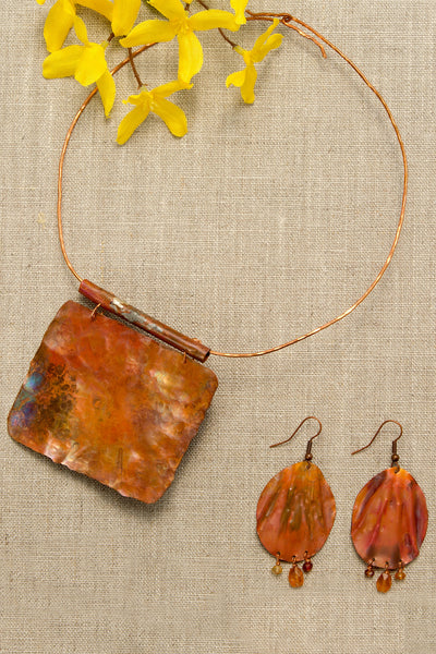Copper Patina Necklace with Copper Patina Earring Set