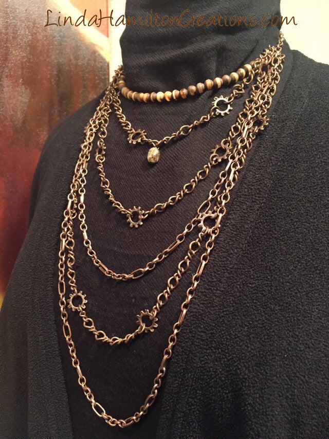 Copper Chain Mail Necklace