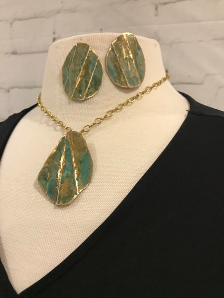 Form Folded Merlins Gold with Green Patina Earring and Necklace Set