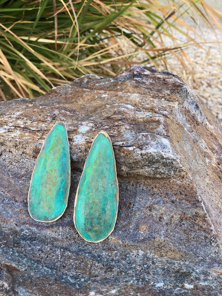 Green Patina Brass Earrings