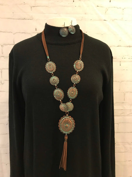 Copper Green Patina Concho Brown Leather Necklace and Earring Set