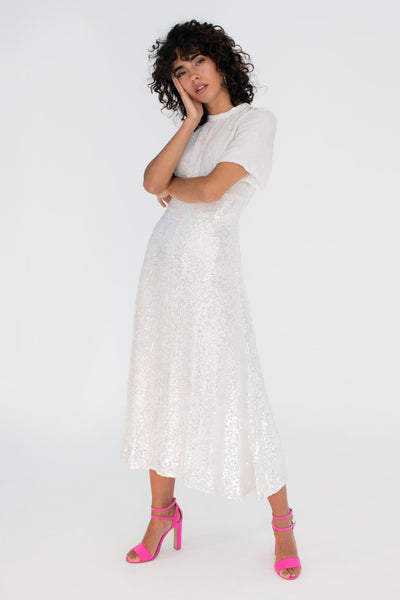 Silver Sequin Jeanne Dress