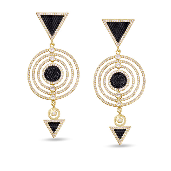Adalia Multi Circle Gold Drop Gold Earrings