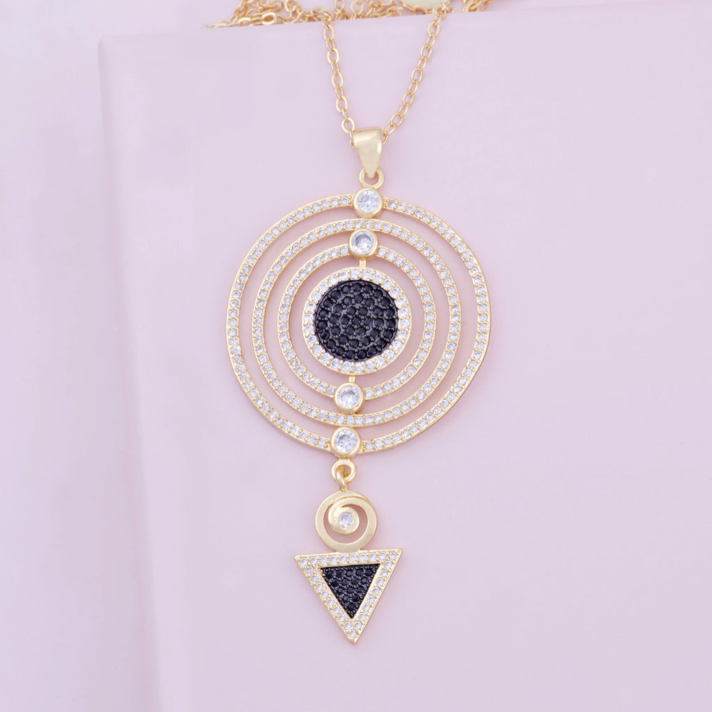 Adalia Circular Pendant Gold Black Necklace Purple Dew