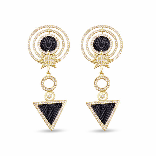 Adalia Star Multi Circle Drop Gold Earrings