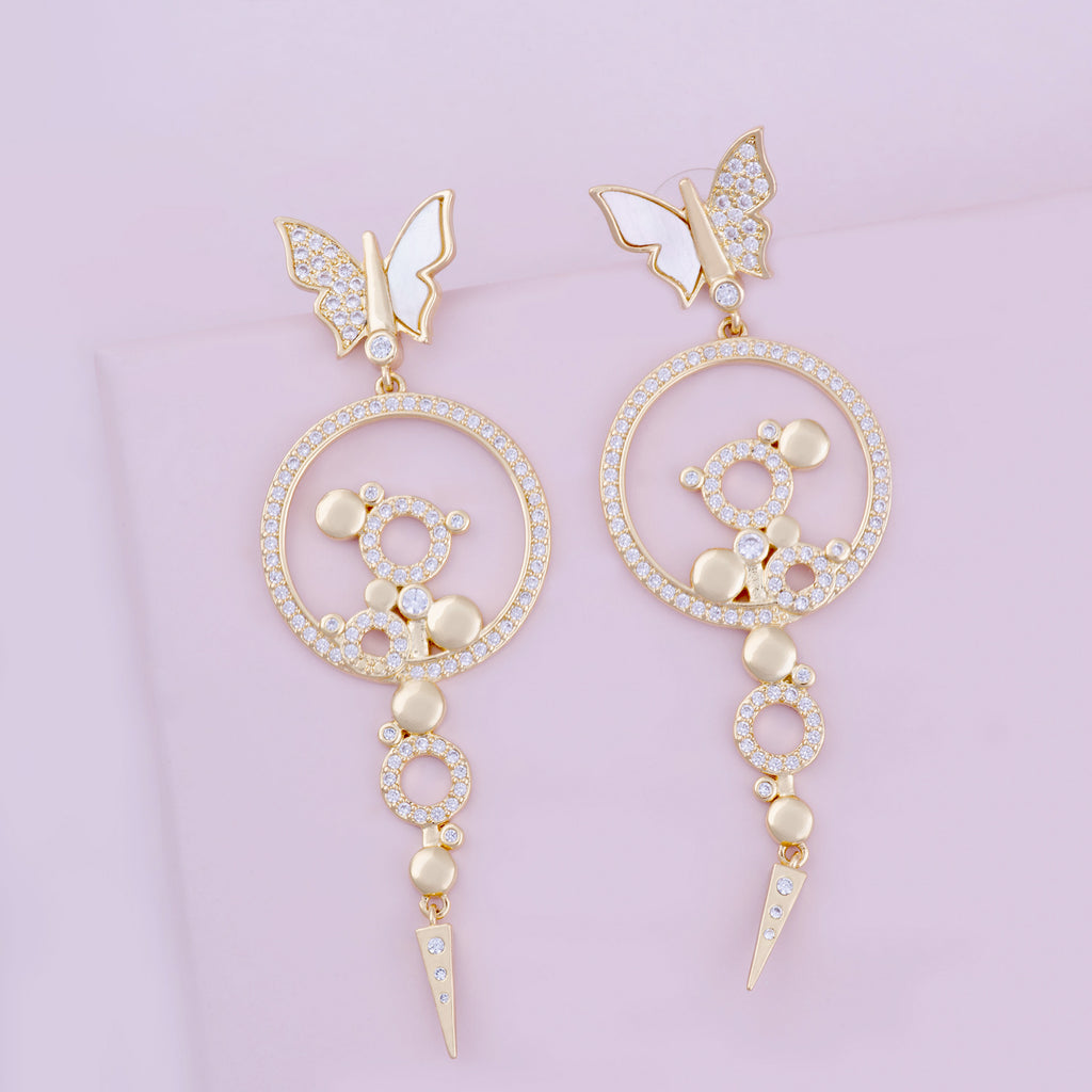 Bianca Chandelier Drop Earrings White Butterfly Purple Dew