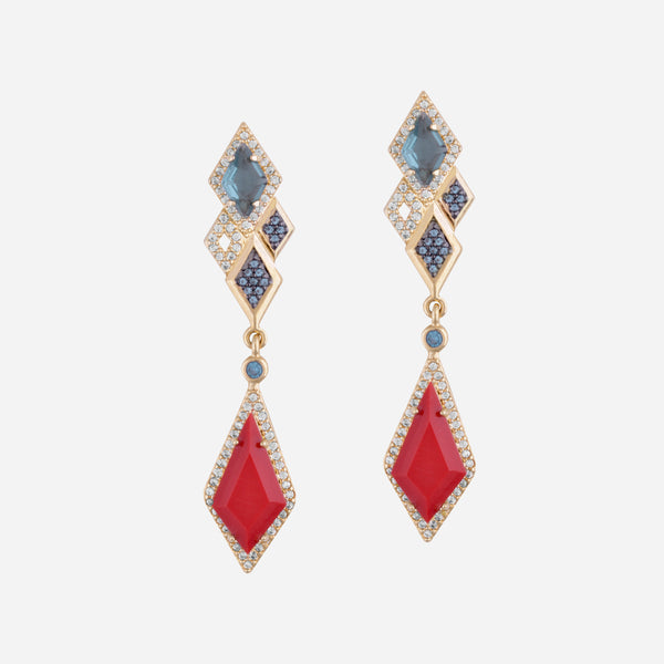 Red and Blue Crystal Drop Gold Earrings