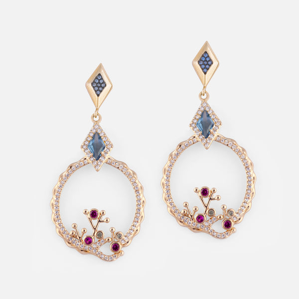 Blue Crystal Gold Plated Drop Earrings