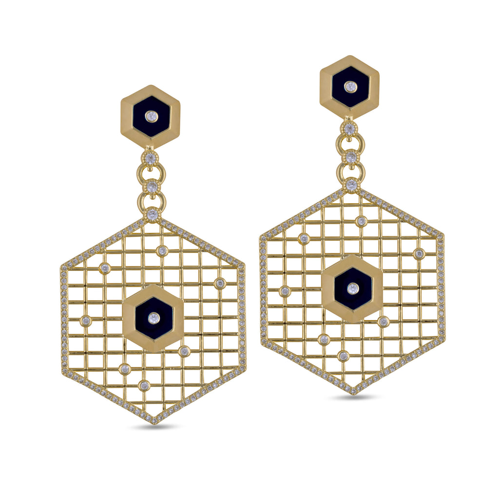 Leila Mesh Gold Drop Earrings