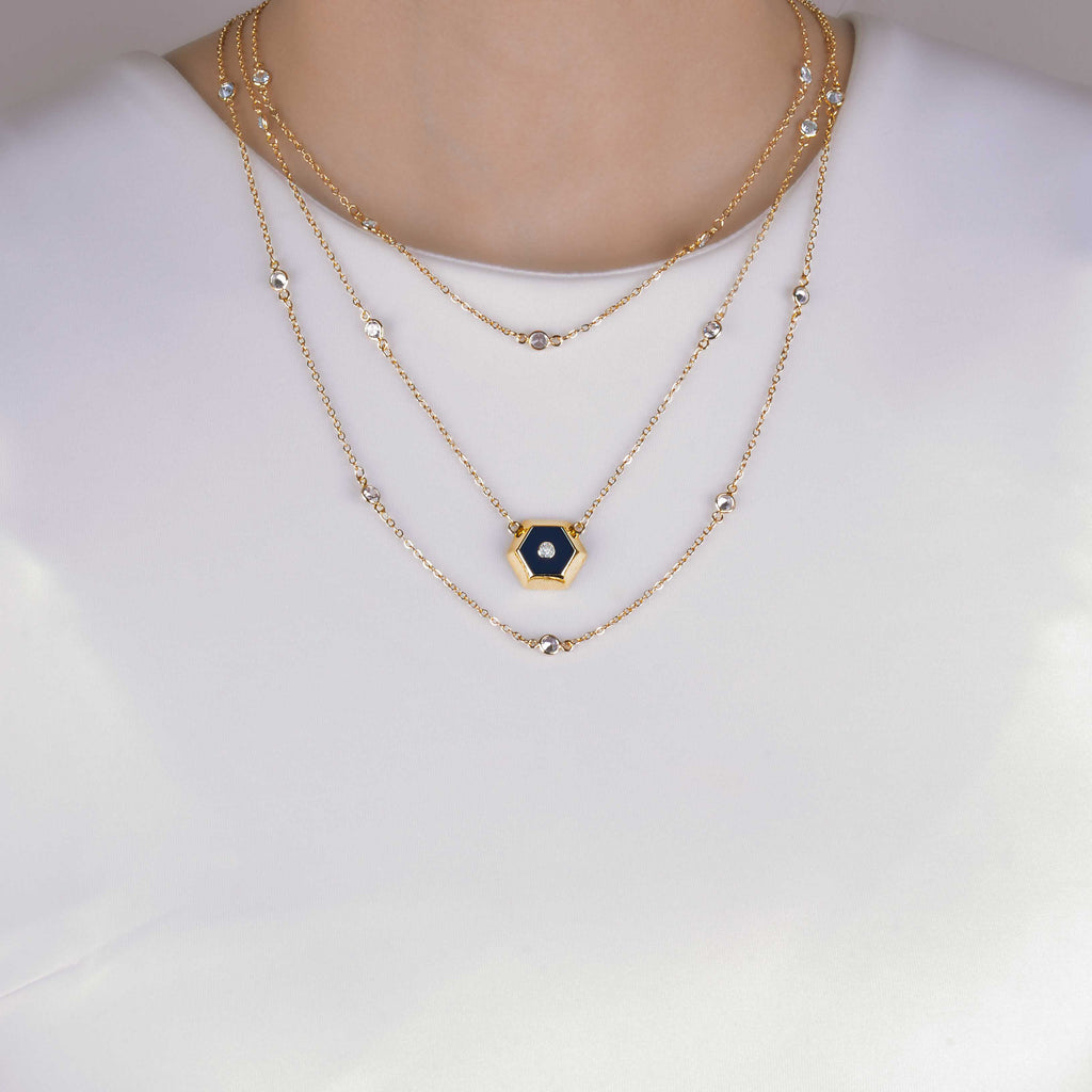 Leila Night Sky Multi Layer Gold Necklace