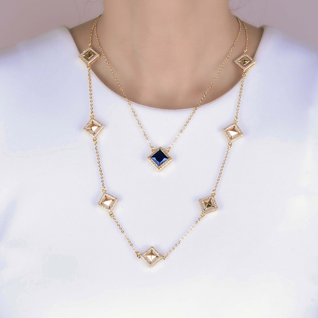 Malaya Blue Kite Layer Necklace