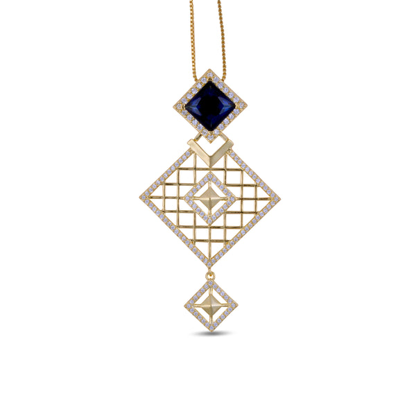 Malaya Blue Kite Pendant Long Necklace