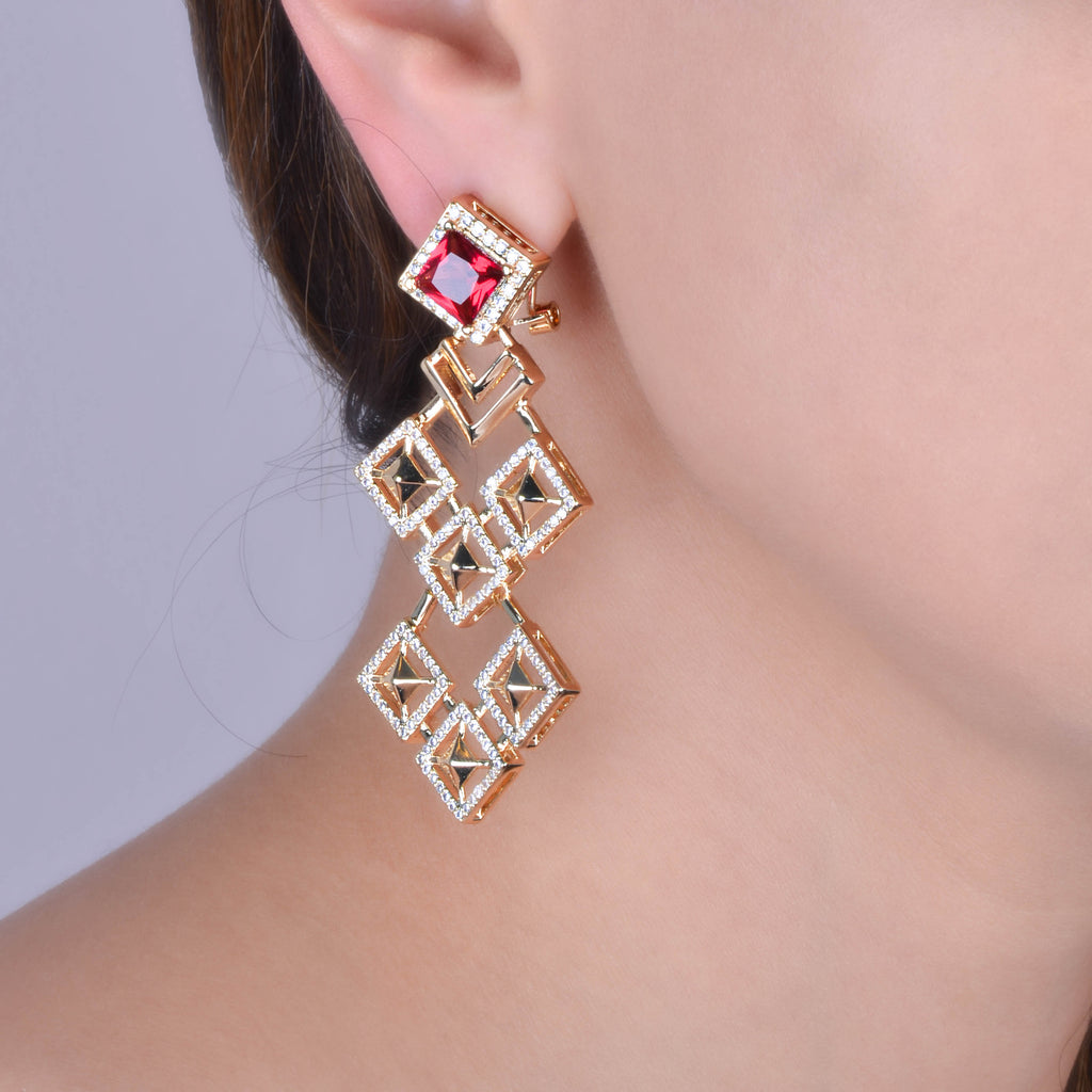 Red Crystal Kite Gold Plated Statement Earrings
