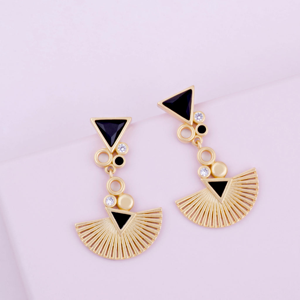 Mirasol Radiance Drop Gold Earrings Purple Dew