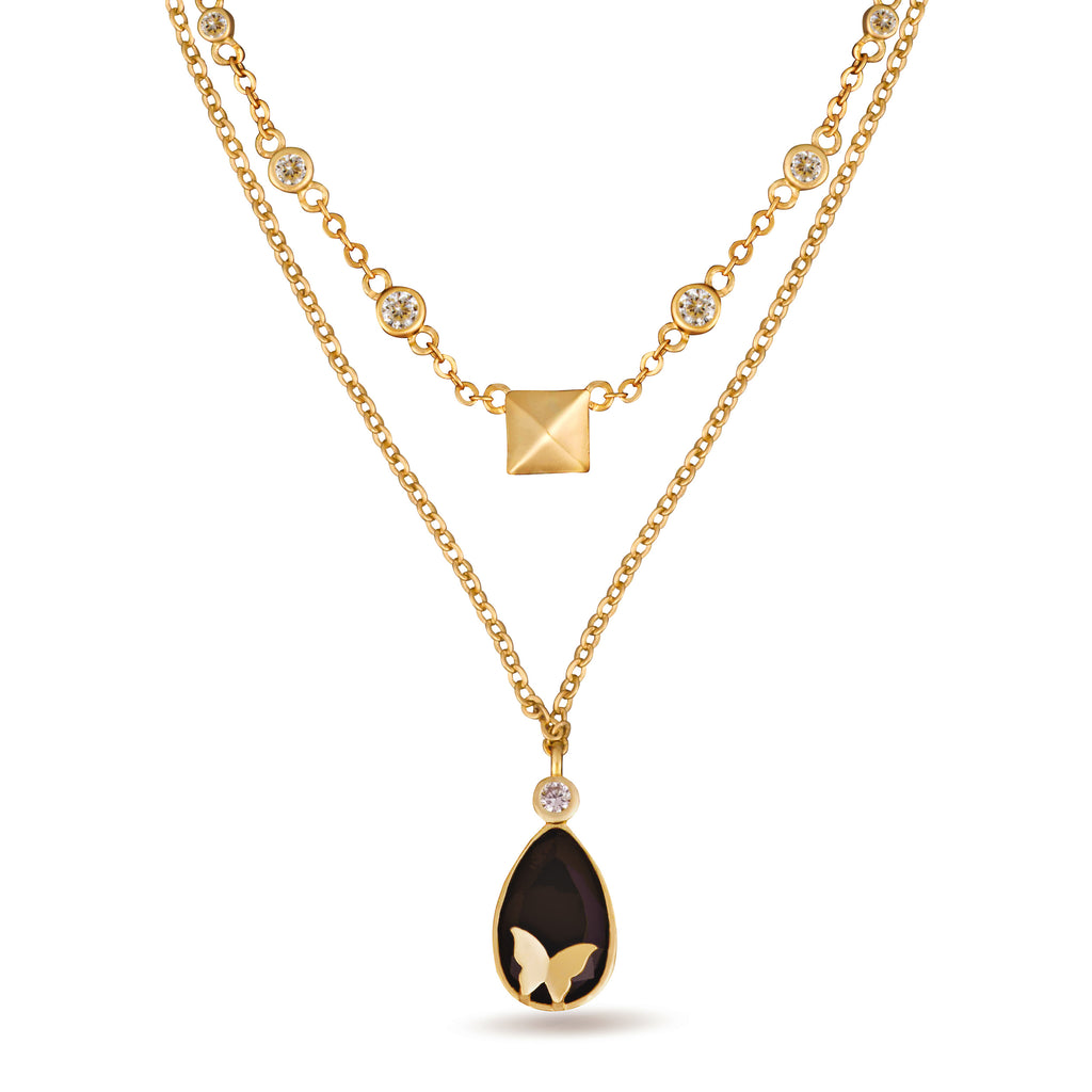 Nava Two Layer Black Drop Pendant Necklace