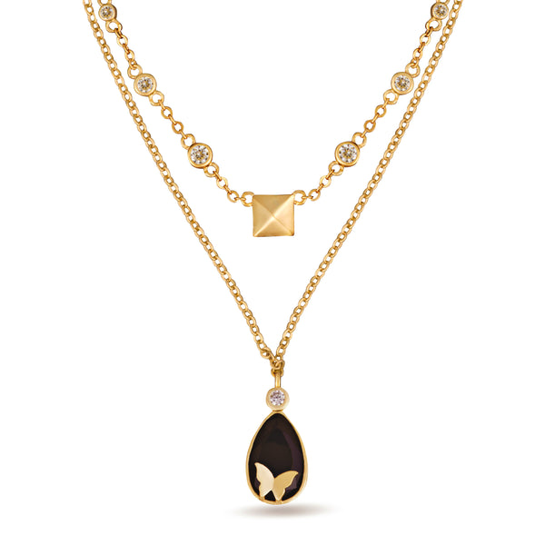 Nava Two Layer Black Pendant Gold Necklace
