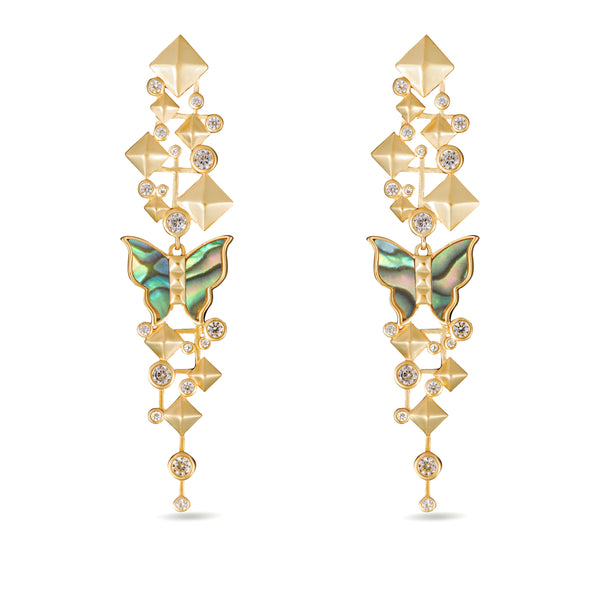 Nava Mother of Pearl Butterfly Drop Gold Earrings