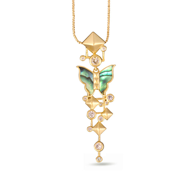Nava Mother of Pearl Butterfly Pendant Gold Necklace