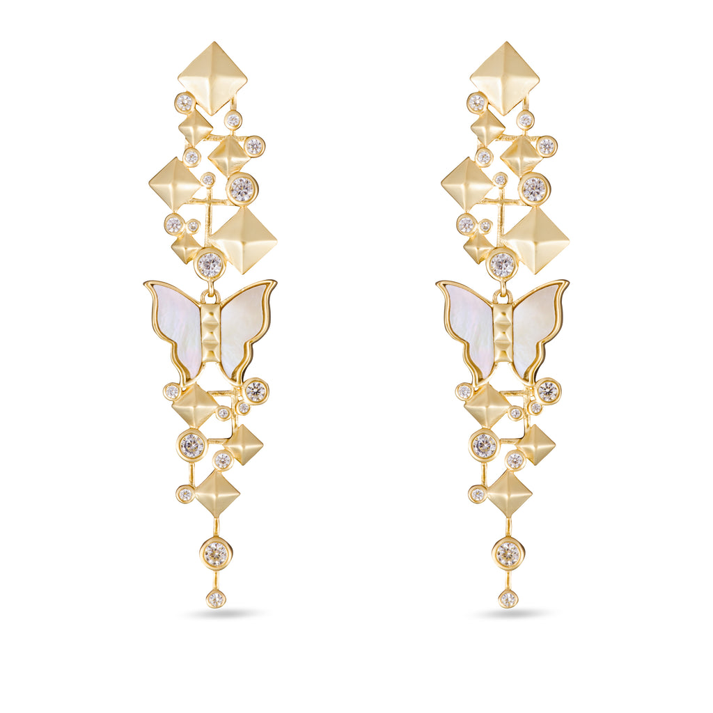 Nava White Mother of Pearl Butterfly Drop Gold Earrings