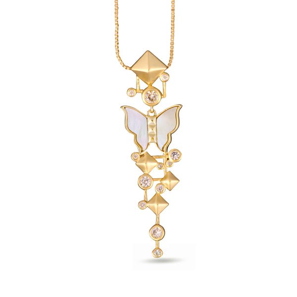 Nava White Mother of Pearl Butterfly Pendant Gold Necklace