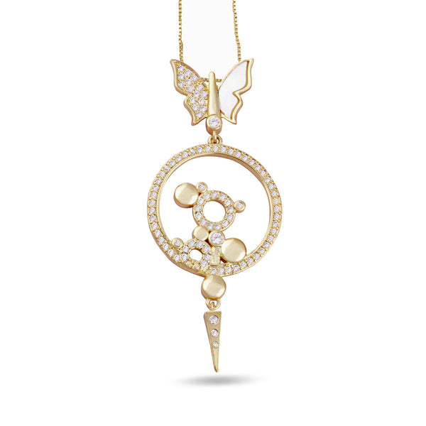 Bianca White Butterfly Pendant Gold Necklace