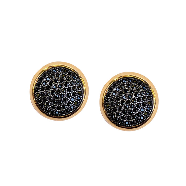 Purple Dew Classics - Black Crystal Gold Stud Earrings