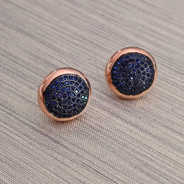 Purple Dew Classics - Blue Crystal Rose Gold Stud Earrings