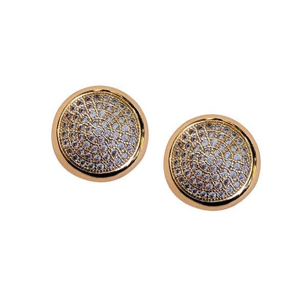 Purple Dew Classics - Gray Crystal Gold Stud Earrings