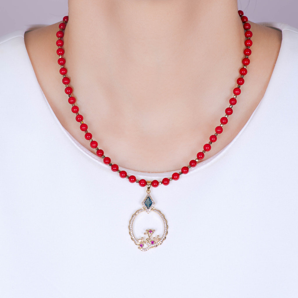 Red Coral Gemstone Gold Necklace