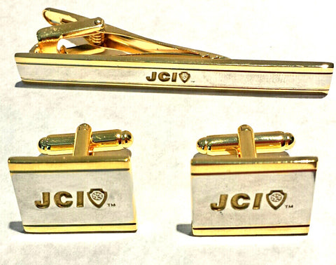 Gold & Silver Tie Clip and Cufflink Set