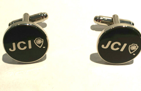 Round Black Cufflinks w/ Silver Trim