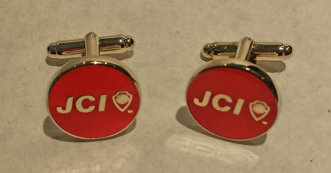 Round Red Cufflinks with Silver Accents