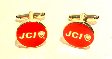 Round Red Cufflinks with Gold Accents