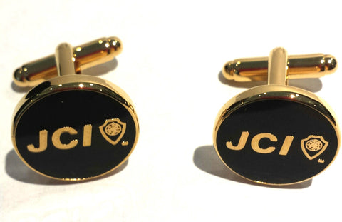Round Black Cufflinks w/ Gold Trim