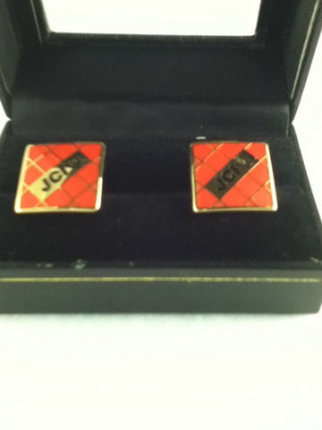 Square Red Cufflinks with Gold Accents