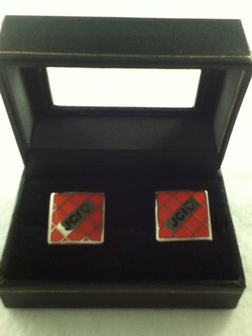 Square Red Cufflinks with Silver Accents