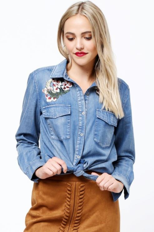 Denim Day Button Up Top
