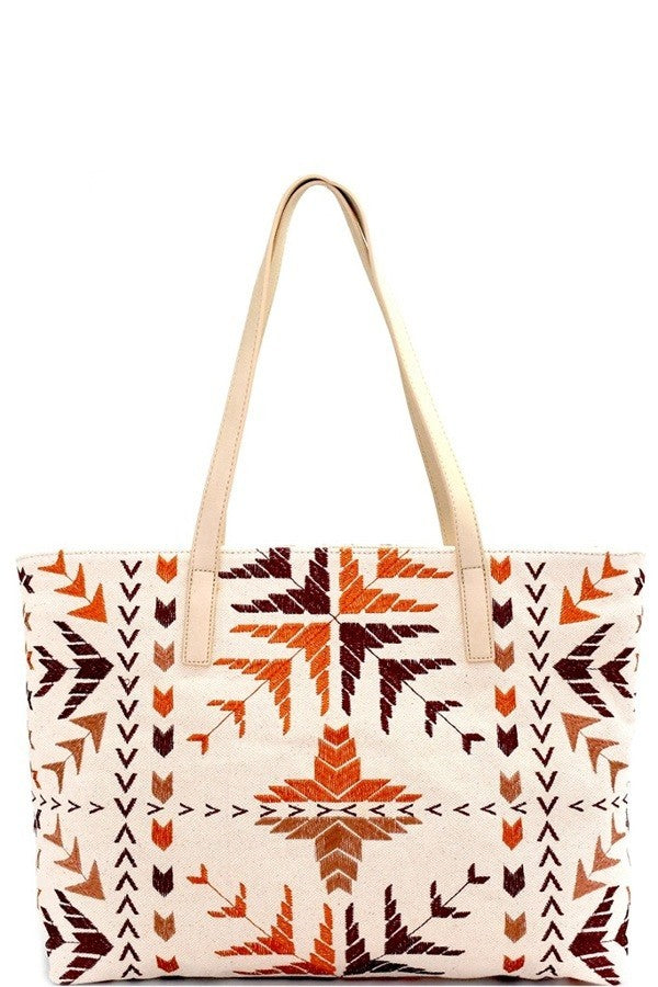 Tribal Embroidered Canvas Shopper Tote
