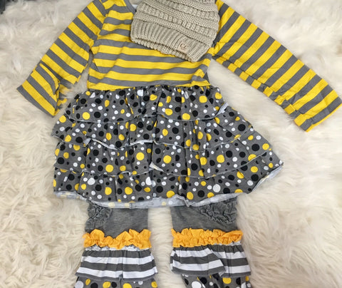 Yellow Stripe Ruffle Set