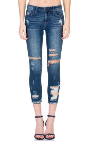 Mid Rise 5 Pocket Distress Crop Skinny Dark Denim