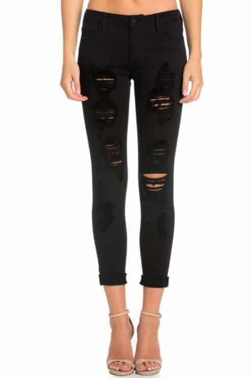 "Mid Rise 4"" Cuff Distressed Crop Skinny"