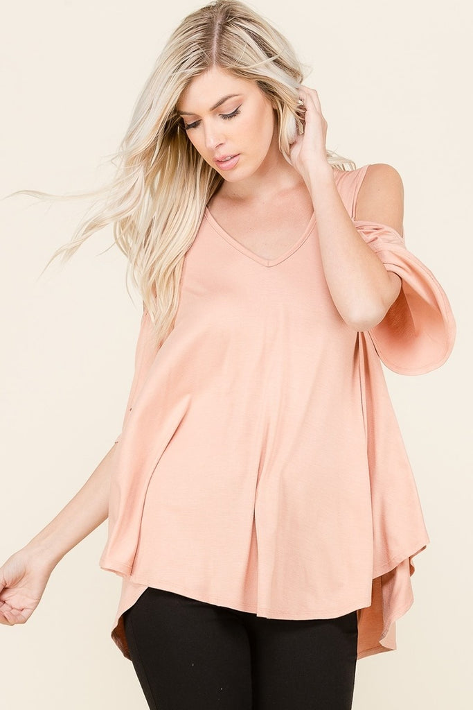 Jersey Cold Shoulder Top