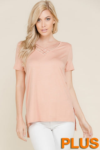 Plus Strappy V-Neck Top