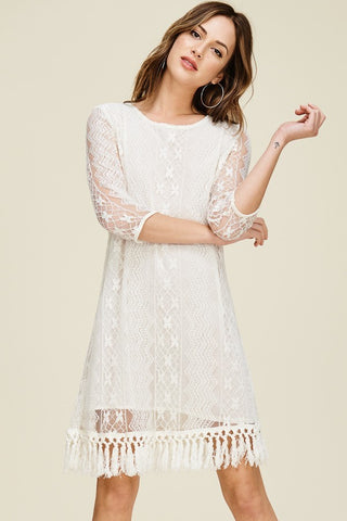 Tassel Hem Lace Dress