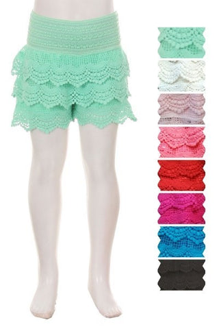 Little Girls Scallop Lace Shorts